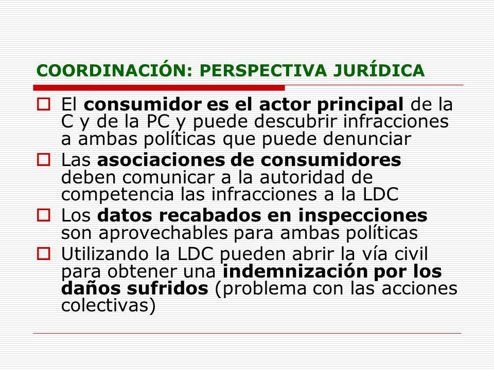 COORDINACIÓN: PERSPECTIVA JURÍDICA El consumidor es el actor principal de la C y de la PC y puede descubrir infracciones a ambas políticas que puede d