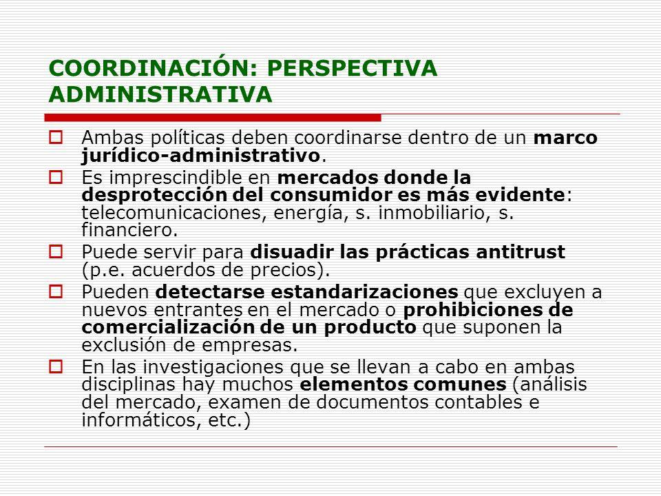 COORDINACIÓN: PERSPECTIVA ADMINISTRATIVA Ambas políticas deben coordinarse dentro de un marco jurídico-administrativo. Es imprescindible en mercados d
