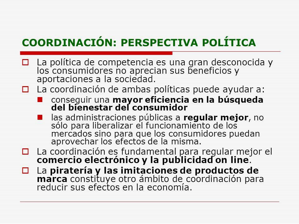 COORDINACIÓN: PERSPECTIVA POLÍTICA La política de competencia es una gran desconocida y los consumidores no aprecian sus beneficios y aportaciones a l
