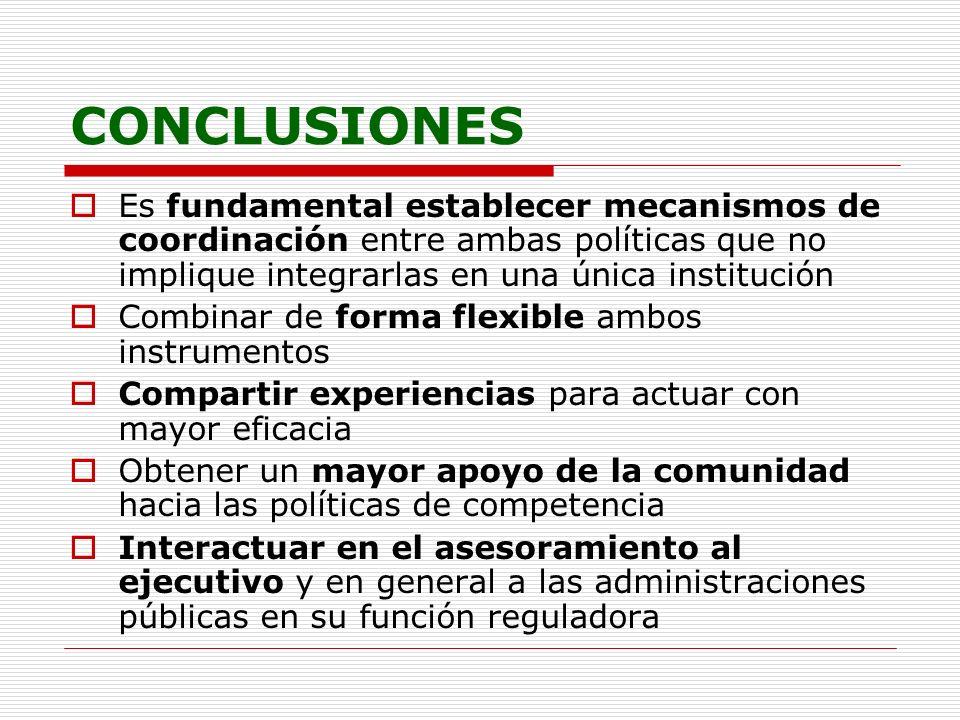 CONCLUSIONES Es fundamental establecer mecanismos de coordinación entre ambas políticas que no implique integrarlas en una única institución Combinar