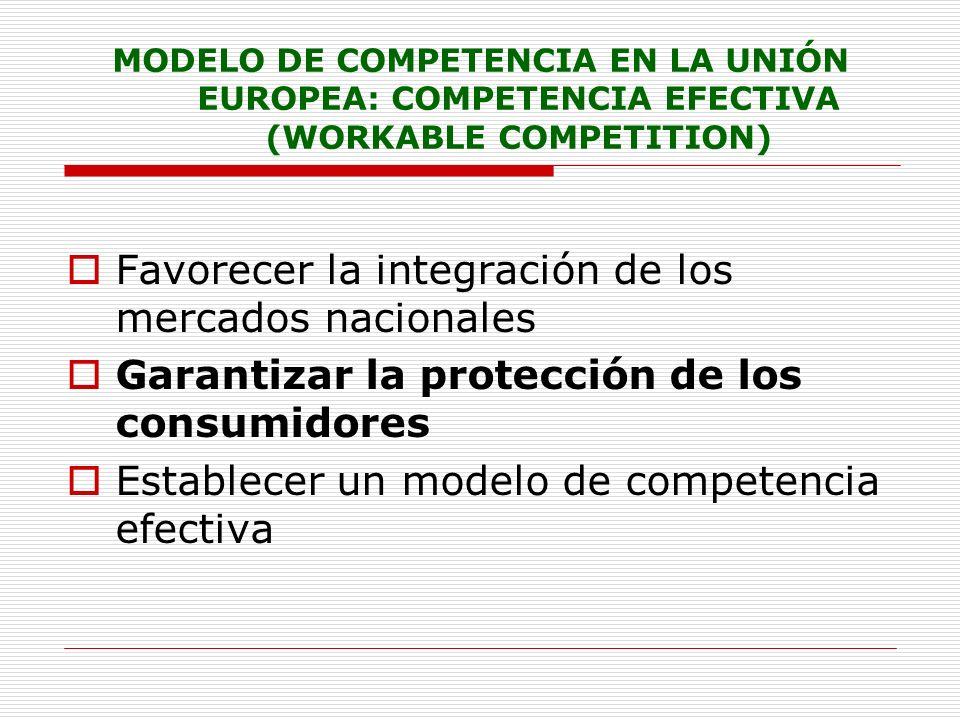 MODELO DE COMPETENCIA EN LA UNIÓN EUROPEA: COMPETENCIA EFECTIVA (WORKABLE COMPETITION) Favorecer la integración de los mercados nacionales Garantizar