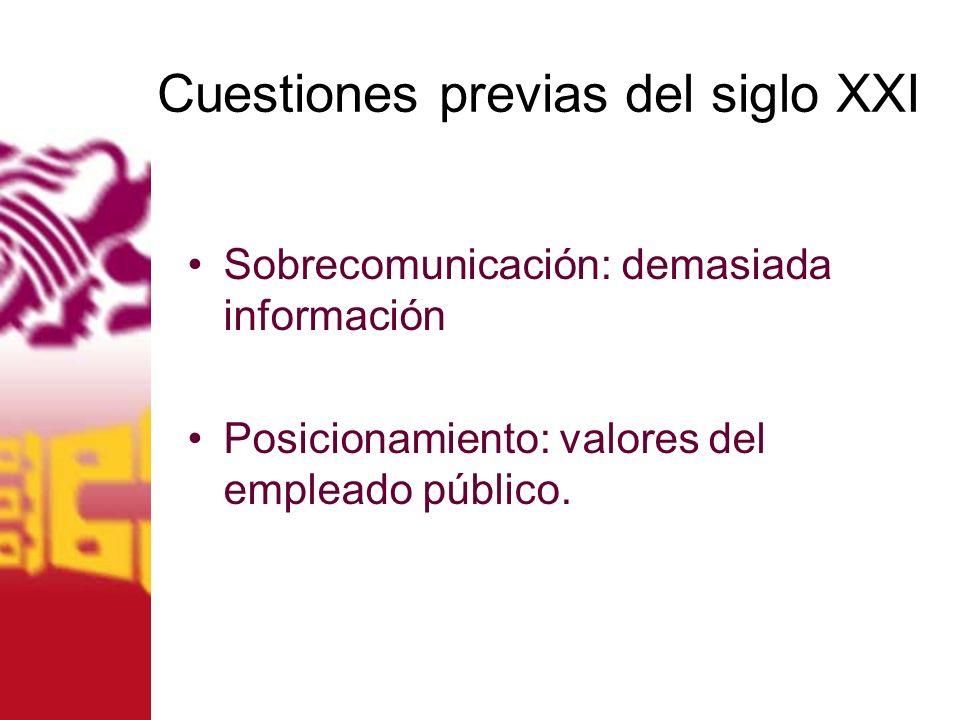 Cuestiones previas del siglo XXI Sobrecomunicación: demasiada información Posicionamiento: valores del empleado público.