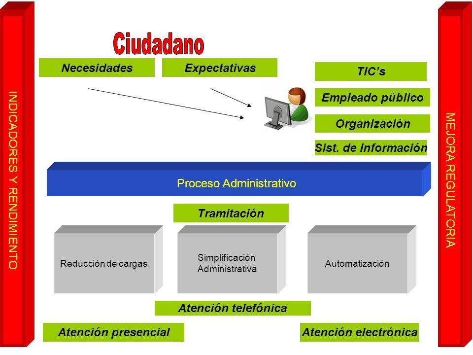 Proceso Administrativo Reducción de cargas Simplificación Administrativa Automatización Necesidades Tramitación Expectativas TICs Atención presencial