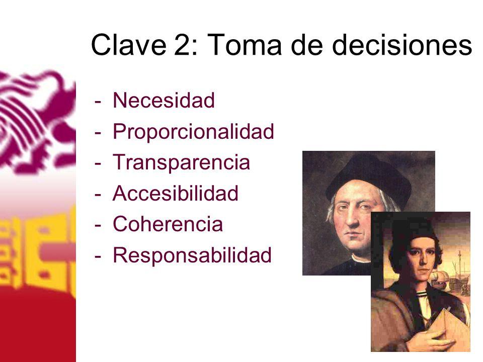Clave 2: Toma de decisiones -Necesidad -Proporcionalidad -Transparencia -Accesibilidad -Coherencia -Responsabilidad