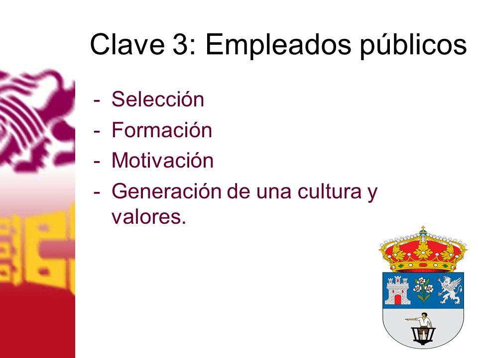 Clave 3: Empleados públicos -Selección -Formación -Motivación -Generación de una cultura y valores.