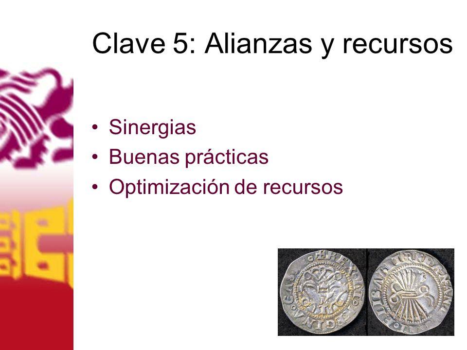 Clave 5: Alianzas y recursos Sinergias Buenas prácticas Optimización de recursos
