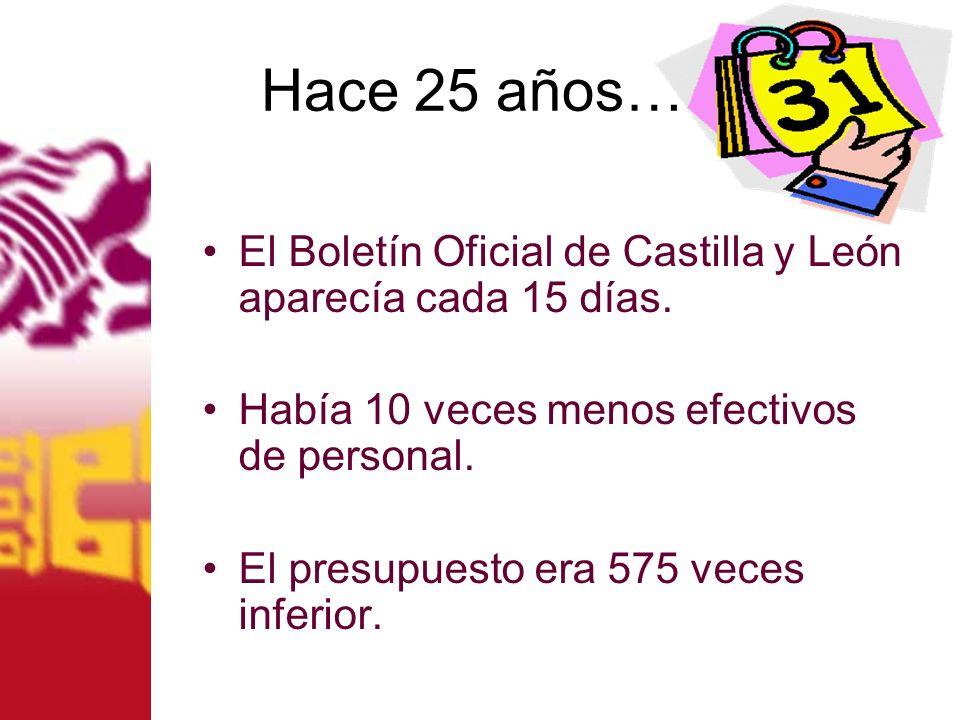 Hace 25 años…. El Boletín Oficial de Castilla y León aparecía cada 15 días. Había 10 veces menos efectivos de personal. El presupuesto era 575 veces i
