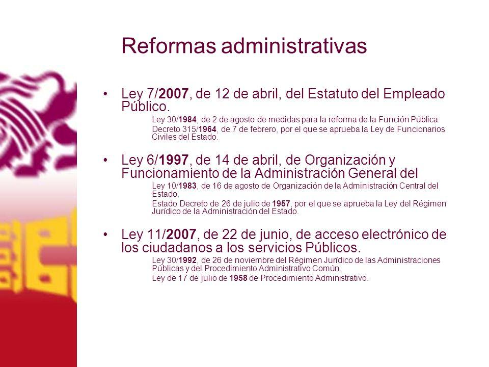 Ley 7/2007, de 12 de abril, del Estatuto del Empleado Público. Ley 30/1984, de 2 de agosto de medidas para la reforma de la Función Pública. Decreto 3