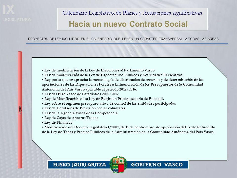 IX LEGISLATURA Calendario Legislativo, de Planes y Actuaciones significativas Hacia un nuevo Contrato Social PROYECTOS DE LEY INCLUÍDOS EN EL CALENDARIO QUE TIENEN UN CARÁCTER TRANSVERSAL A TODAS LAS ÁREAS Leyes Ley de modificación de la Ley de Elecciones al Parlamento Vasco Ley de modificación de la Ley de Espectáculos Públicos y Actividades Recreativas Ley por la que se aprueba la metodología de distribución de recursos y de determinación de las aportaciones de las Diputaciones Forales a la financiación de los Presupuestos de la Comunidad Autónoma del País Vasco aplicable al período 2012/2016.