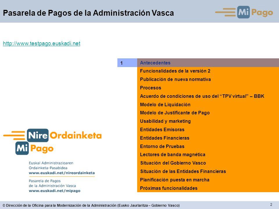63 © Dirección de la Oficina para la Modernización de la Administración (Eusko Jaurlaritza – Gobierno Vasco) Pasarela de Pagos de la Administración Vasca Situación Entidades Financieras Vital FuncionalidadSituación Bilingüe (Euskera / Castellano)Sí Primera pantalla de datosSí Pago a través de su banca electrónicaSí Pago mediante identificación de tarjetaSí Emisión de NRC individual para cada pagoSí Cuaderno nº 57Sí (en pruebas) Cuaderno nº 60 502: modalidad 1 (formato corto) 508: modalidad 1 (formato largo) 521: modalidad 2 (sin recargo) 522: modalidad 2 (con recargo) Sí (en pruebas) Pago en ventanillaSí (en pruebas) Pago por LotesSí (en pruebas) Consulta del estado del pago utilizando el CSB Pendiente Consulta del estado del pago utilizando el NRC Pendiente TPV virtualNo procede FuncionalidadSituación Servicio 24 horas: Los pagos se materializarán en la cuenta en la misma fecha en que el pago se produzca, con independencia que la hora de cierre de las operaciones de la EFC sea anterior a las 24h.