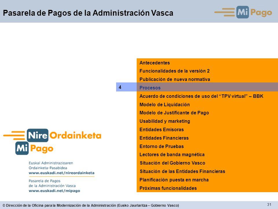 31 © Dirección de la Oficina para la Modernización de la Administración (Eusko Jaurlaritza – Gobierno Vasco) Pasarela de Pagos de la Administración Va