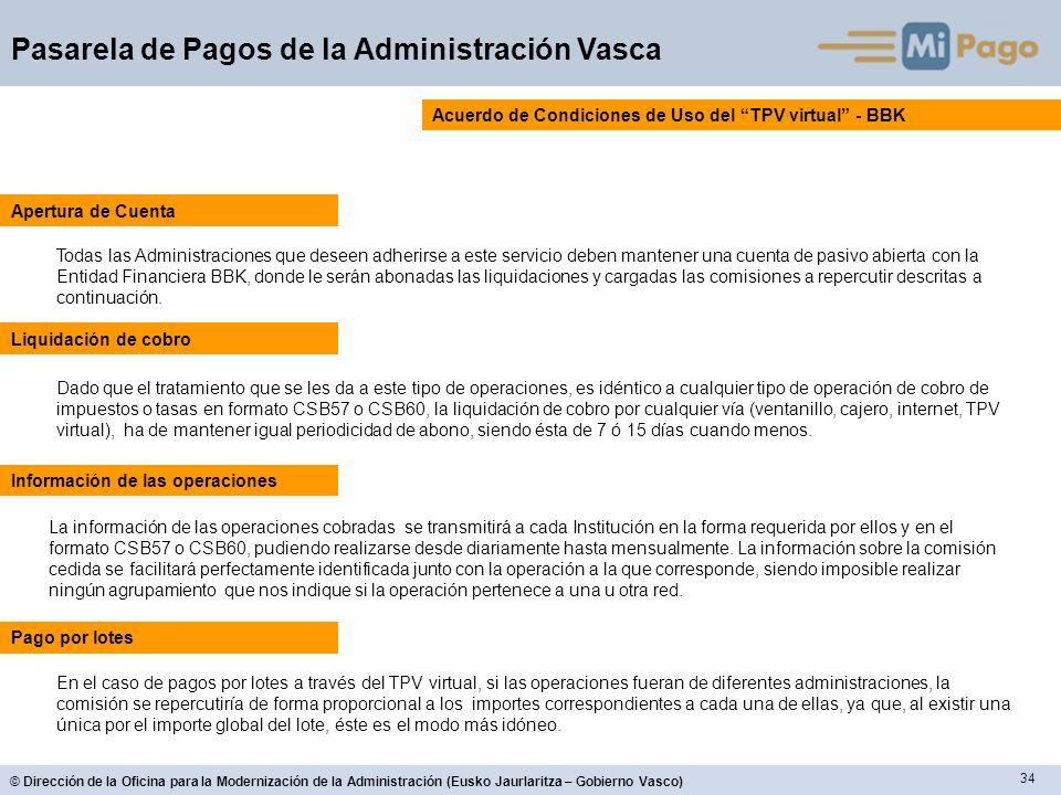 34 © Dirección de la Oficina para la Modernización de la Administración (Eusko Jaurlaritza – Gobierno Vasco) Pasarela de Pagos de la Administración Va