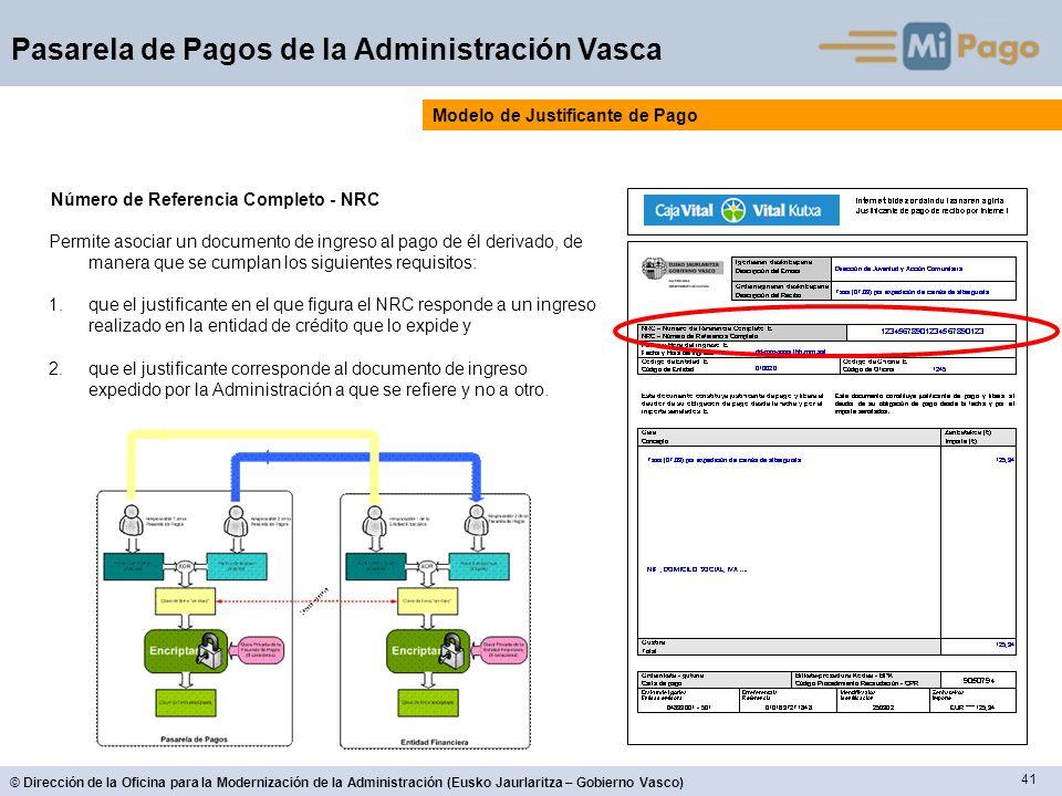 41 © Dirección de la Oficina para la Modernización de la Administración (Eusko Jaurlaritza – Gobierno Vasco) Pasarela de Pagos de la Administración Va