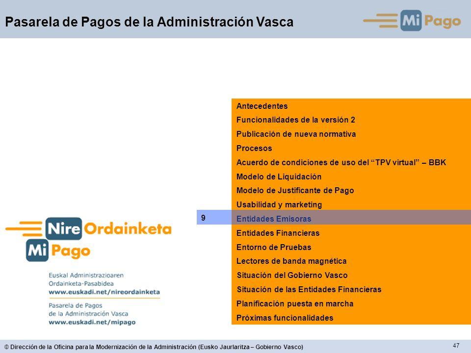 47 © Dirección de la Oficina para la Modernización de la Administración (Eusko Jaurlaritza – Gobierno Vasco) Pasarela de Pagos de la Administración Va
