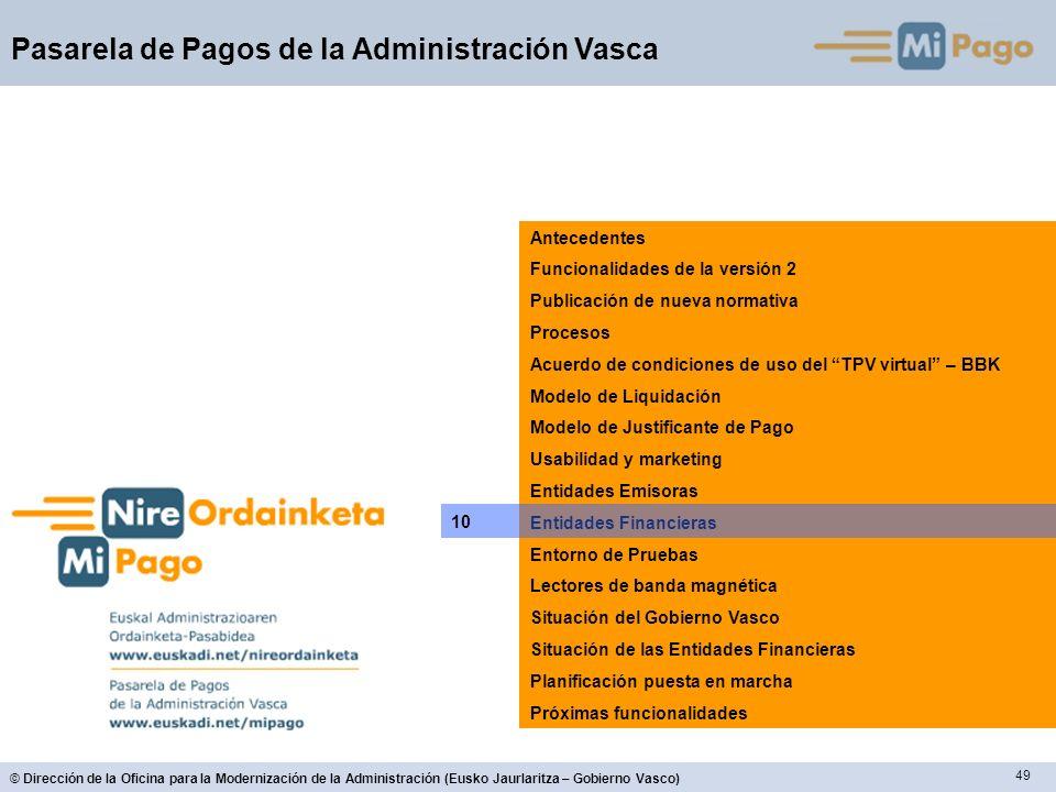 49 © Dirección de la Oficina para la Modernización de la Administración (Eusko Jaurlaritza – Gobierno Vasco) Pasarela de Pagos de la Administración Va