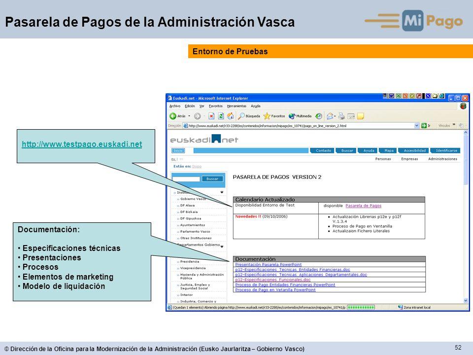 52 © Dirección de la Oficina para la Modernización de la Administración (Eusko Jaurlaritza – Gobierno Vasco) Pasarela de Pagos de la Administración Va