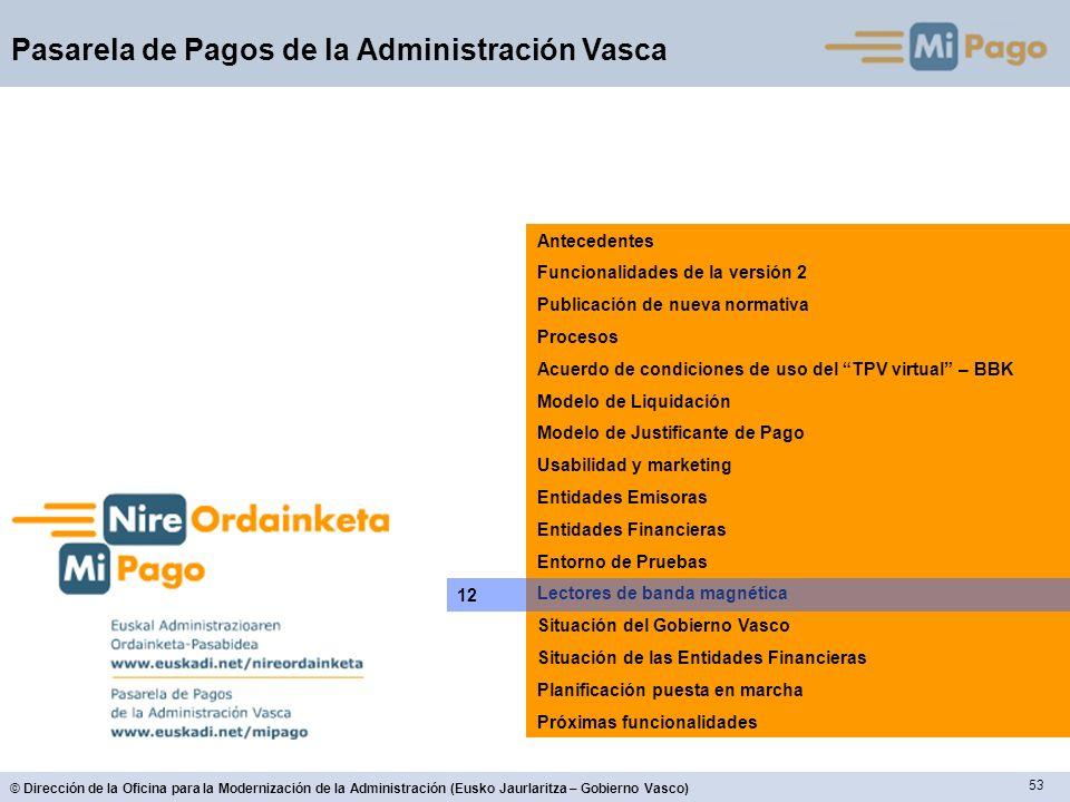 53 © Dirección de la Oficina para la Modernización de la Administración (Eusko Jaurlaritza – Gobierno Vasco) Pasarela de Pagos de la Administración Va