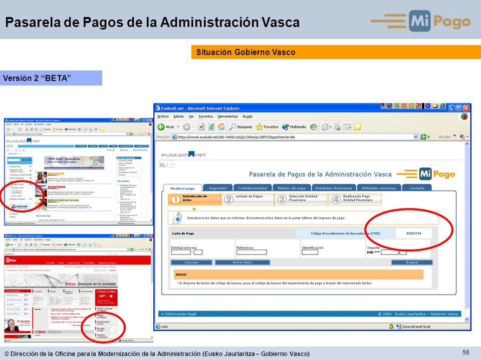 56 © Dirección de la Oficina para la Modernización de la Administración (Eusko Jaurlaritza – Gobierno Vasco) Pasarela de Pagos de la Administración Va