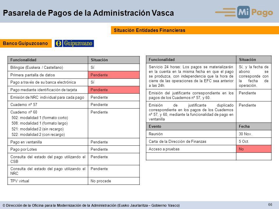 66 © Dirección de la Oficina para la Modernización de la Administración (Eusko Jaurlaritza – Gobierno Vasco) Pasarela de Pagos de la Administración Va