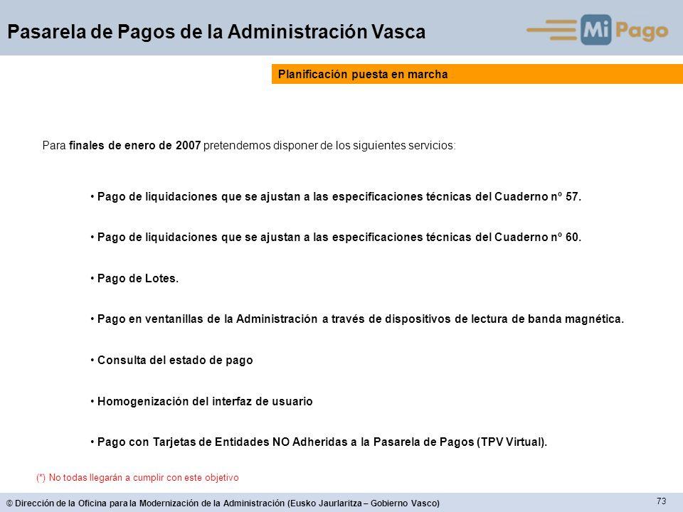 73 © Dirección de la Oficina para la Modernización de la Administración (Eusko Jaurlaritza – Gobierno Vasco) Pasarela de Pagos de la Administración Va