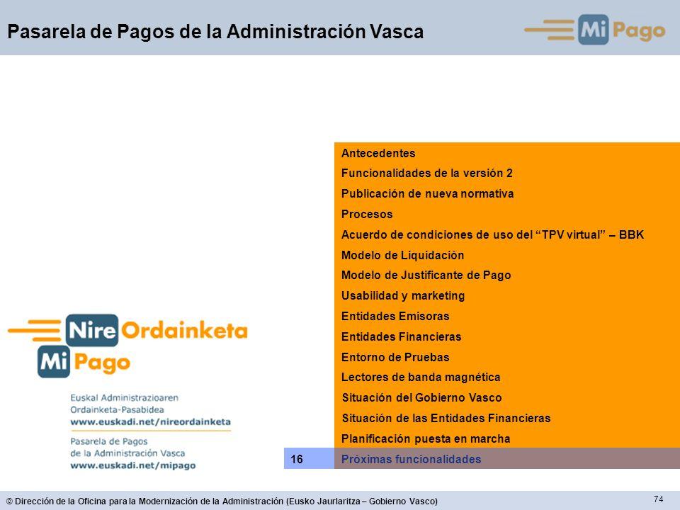 74 © Dirección de la Oficina para la Modernización de la Administración (Eusko Jaurlaritza – Gobierno Vasco) Pasarela de Pagos de la Administración Va