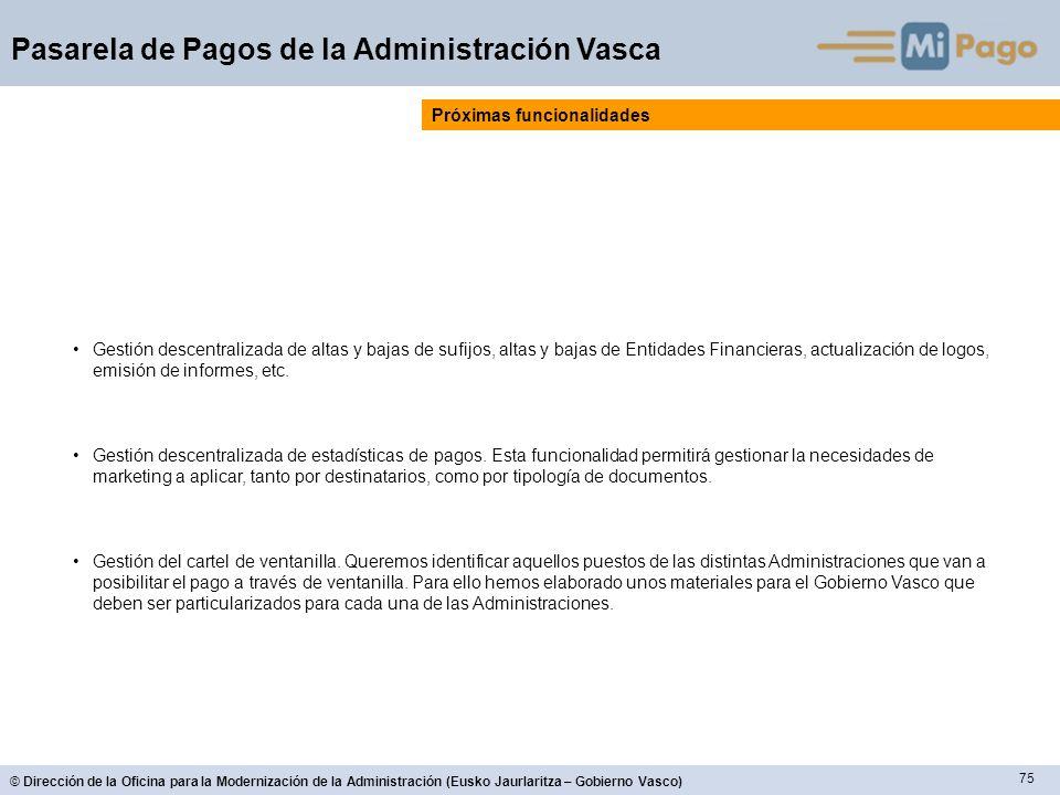 75 © Dirección de la Oficina para la Modernización de la Administración (Eusko Jaurlaritza – Gobierno Vasco) Pasarela de Pagos de la Administración Va