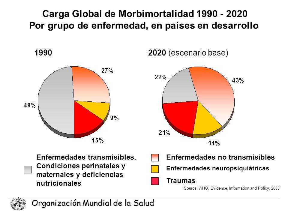 Organización Mundial de la Salud Carga Global de Morbimortalidad 1990 - 2020 Por grupo de enfermedad, en países en desarrollo Enfermedades transmisibl