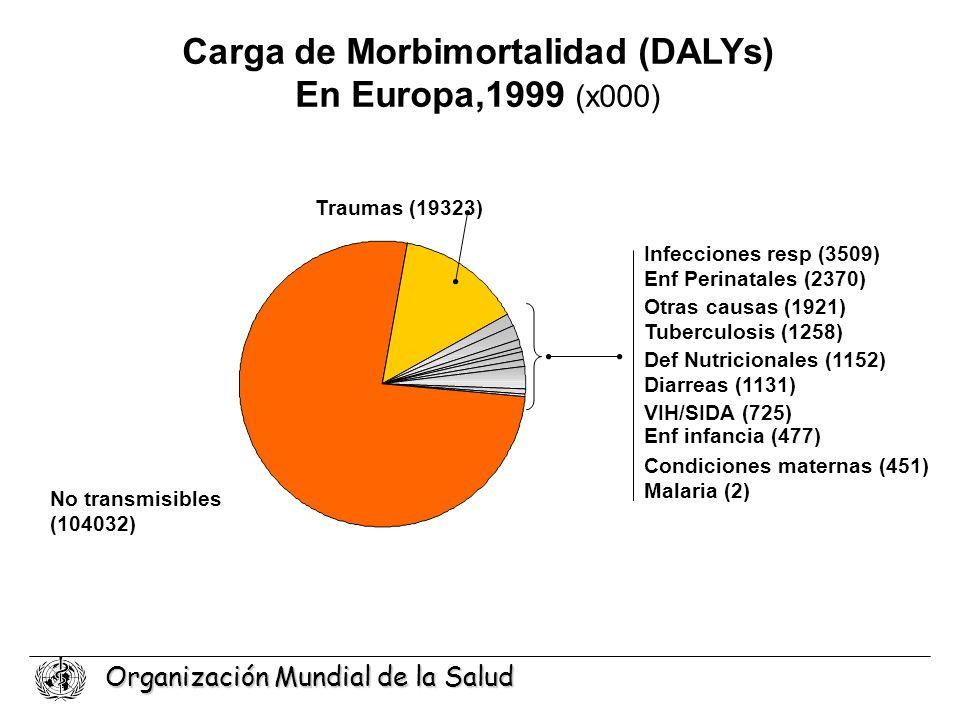 Organización Mundial de la Salud Malaria (2) VIH/SIDA (725) Tuberculosis (1258) Diarreas (1131) Traumas (19323) No transmisibles (104032) Condiciones