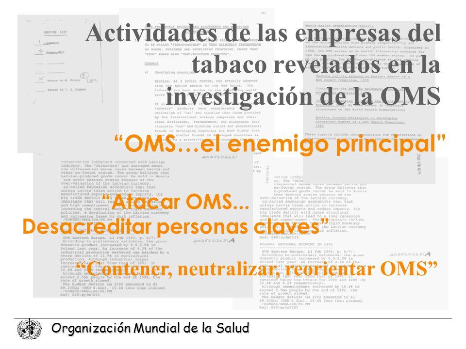 Organización Mundial de la Salud Actividades de las empresas del tabaco revelados en la investigación de la OMS Atacar OMS... Desacreditar personas cl