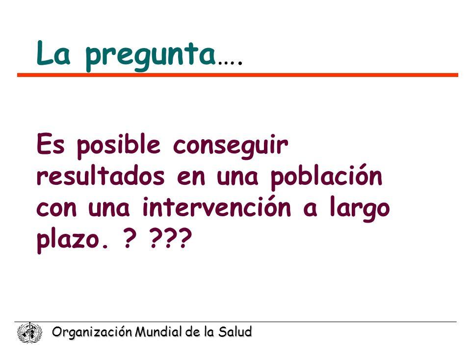 Organización Mundial de la Salud Es posible conseguir resultados en una población con una intervención a largo plazo. ? ??? La pregunta ….