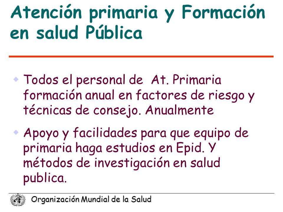 Organización Mundial de la Salud Atención primaria y Formación en salud Pública Todos el personal de At. Primaria formación anual en factores de riesg