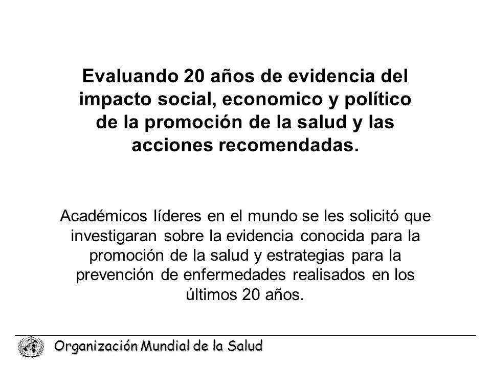 Organización Mundial de la Salud Evaluando 20 años de evidencia del impacto social, economico y político de la promoción de la salud y las acciones re