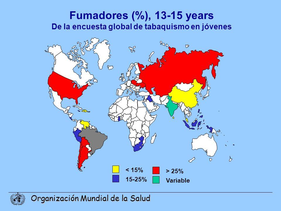 Organización Mundial de la Salud Fumadores (%), 13-15 years De la encuesta global de tabaquismo en jóvenes < 15% 15-25% > 25% Variable