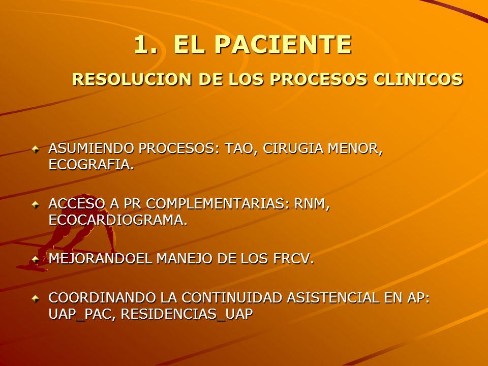 1.EL PACIENTE RESOLUCION DE LOS PROCESOS CLINICOS ASUMIENDO PROCESOS: TAO, CIRUGIA MENOR, ECOGRAFIA. ACCESO A PR COMPLEMENTARIAS: RNM, ECOCARDIOGRAMA.