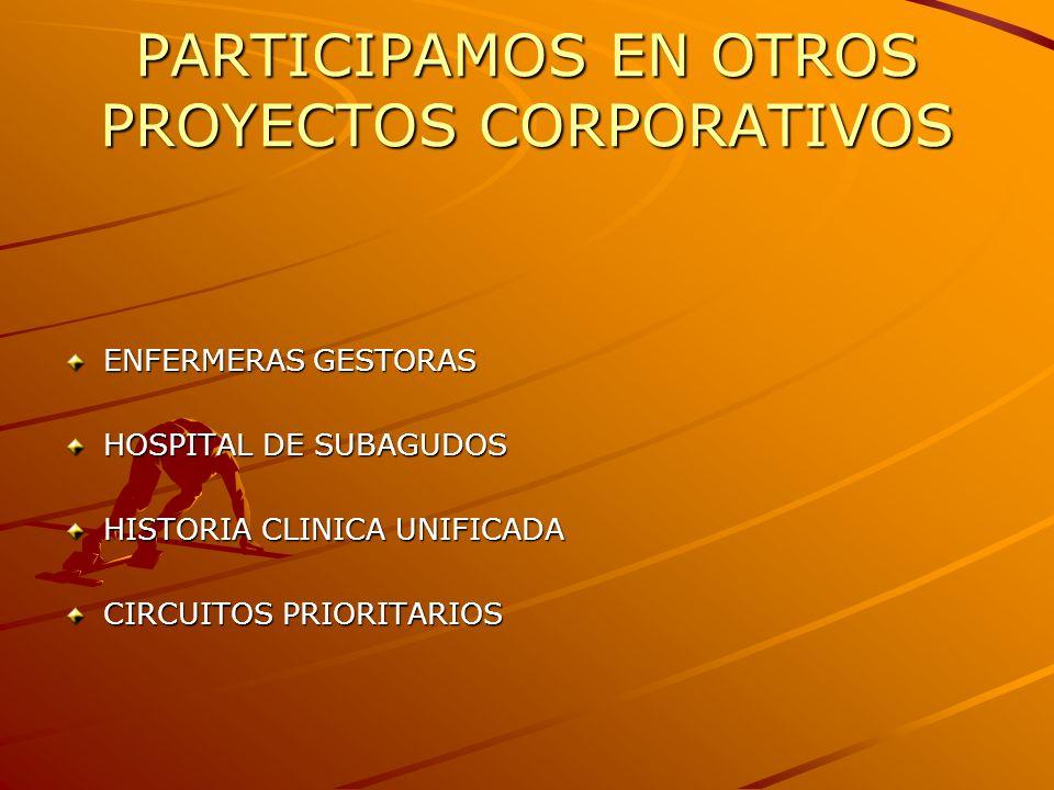 PARTICIPAMOS EN OTROS PROYECTOS CORPORATIVOS ENFERMERAS GESTORAS HOSPITAL DE SUBAGUDOS HISTORIA CLINICA UNIFICADA CIRCUITOS PRIORITARIOS