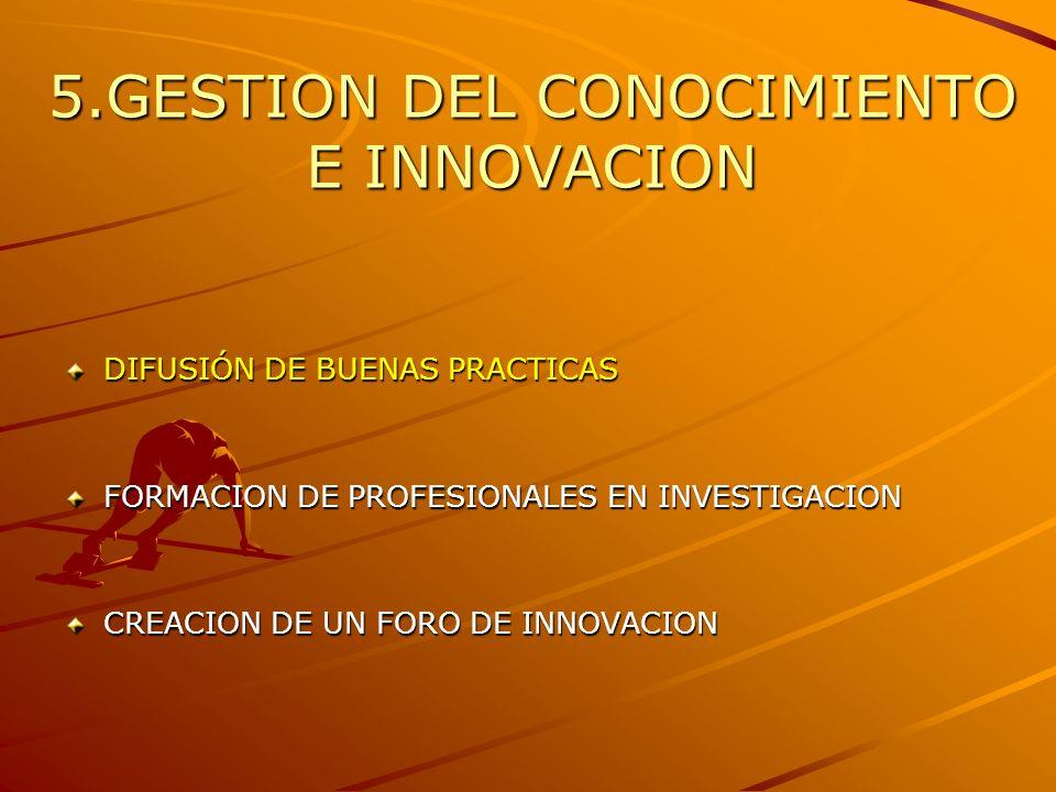 5.GESTION DEL CONOCIMIENTO E INNOVACION DIFUSIÓN DE BUENAS PRACTICAS FORMACION DE PROFESIONALES EN INVESTIGACION CREACION DE UN FORO DE INNOVACION