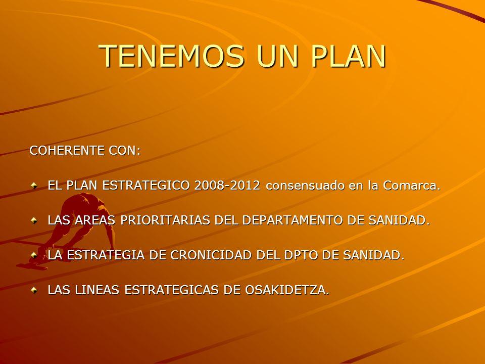 TENEMOS UN PLAN COHERENTE CON: EL PLAN ESTRATEGICO 2008-2012 consensuado en la Comarca. LAS AREAS PRIORITARIAS DEL DEPARTAMENTO DE SANIDAD. LA ESTRATE