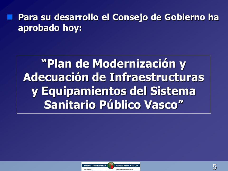 5 nPara su desarrollo el Consejo de Gobierno ha aprobado hoy: Plan de Modernización y Adecuación de Infraestructuras y Equipamientos del Sistema Sanit
