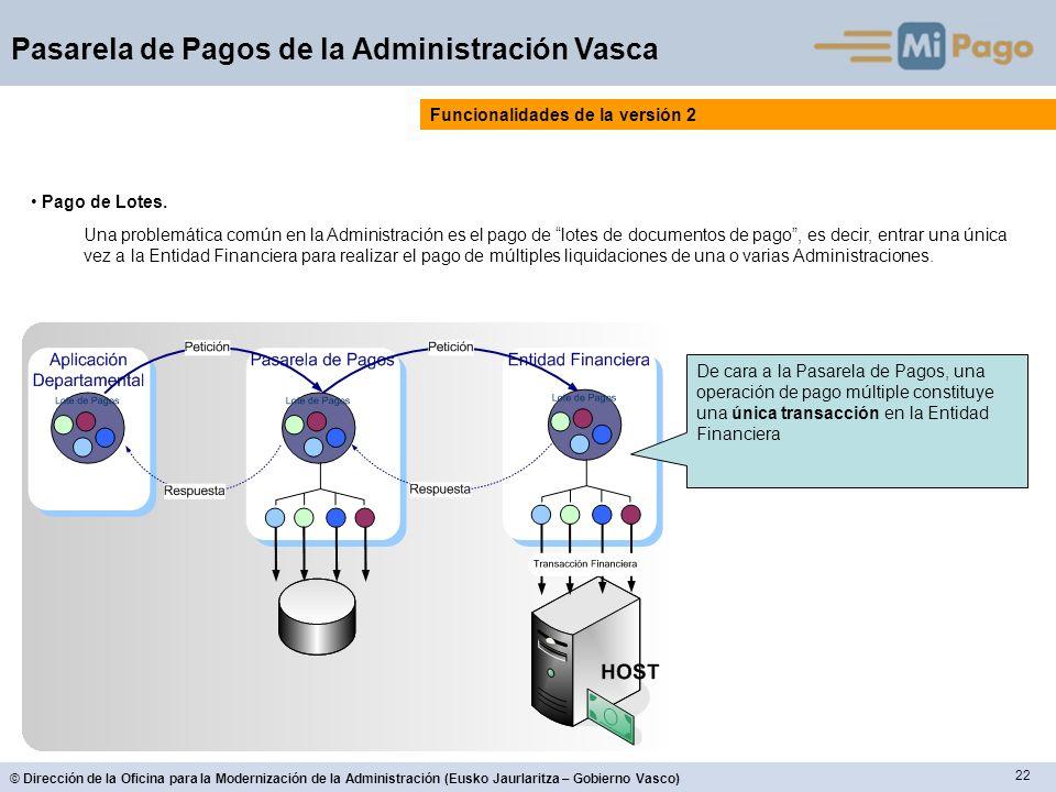 22 © Dirección de la Oficina para la Modernización de la Administración (Eusko Jaurlaritza – Gobierno Vasco) Pasarela de Pagos de la Administración Vasca Funcionalidades de la versión 2 Pago de Lotes.