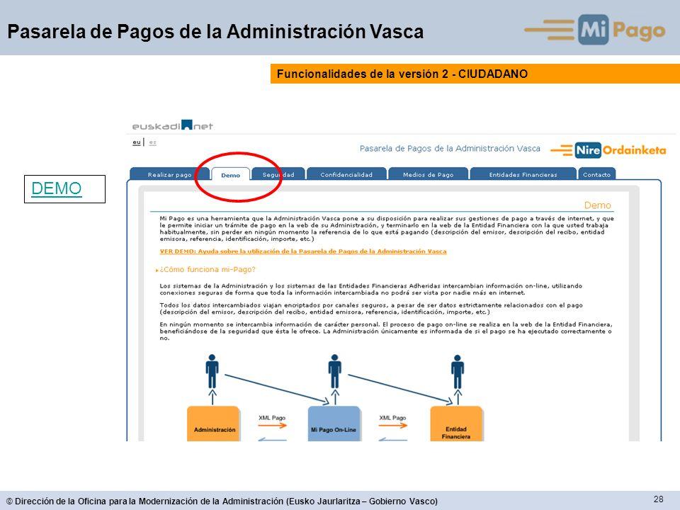 28 © Dirección de la Oficina para la Modernización de la Administración (Eusko Jaurlaritza – Gobierno Vasco) Pasarela de Pagos de la Administración Vasca Funcionalidades de la versión 2 - CIUDADANO DEMO