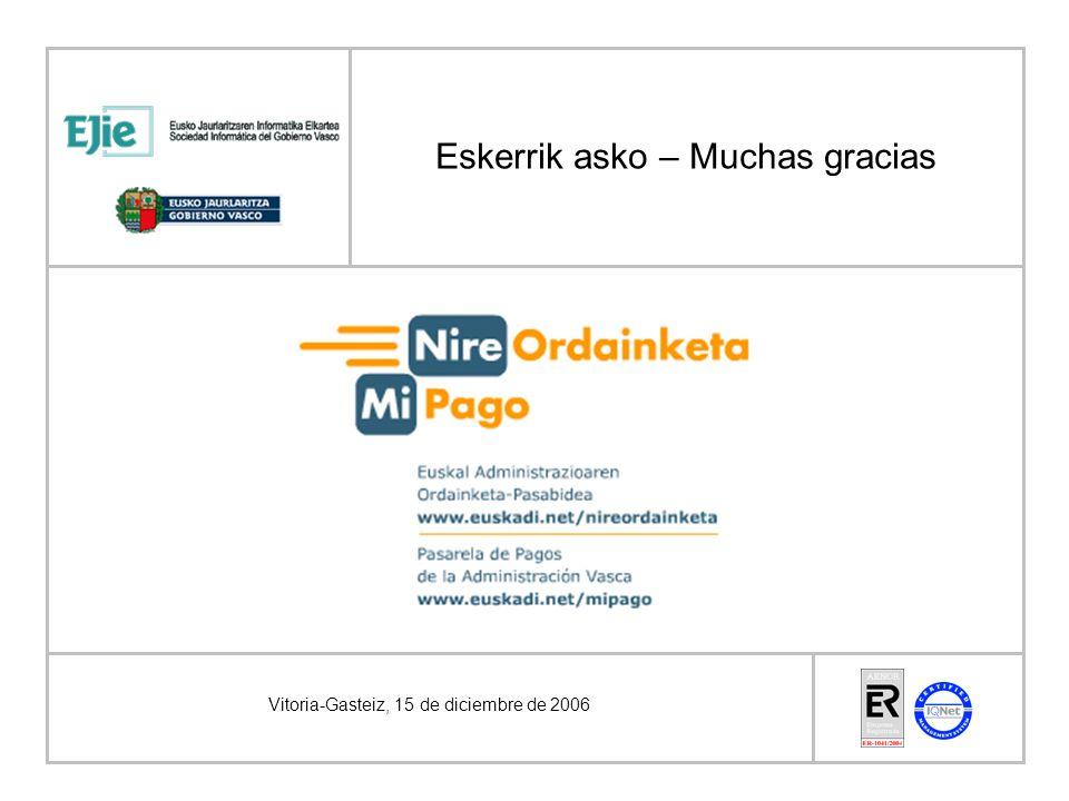 Eskerrik asko – Muchas gracias Vitoria-Gasteiz, 15 de diciembre de 2006