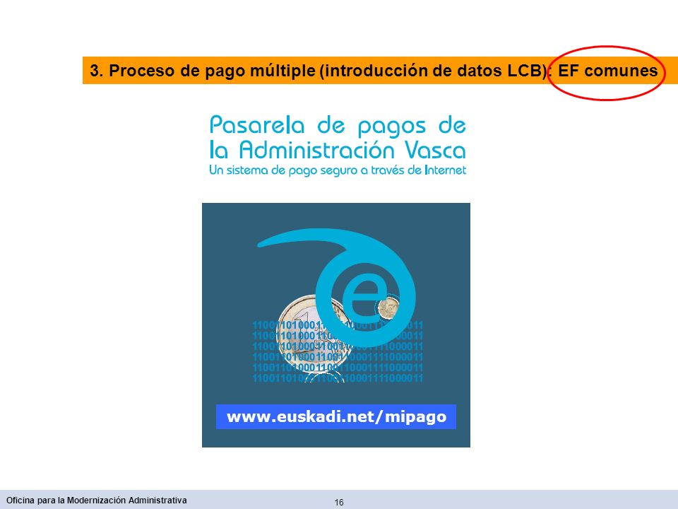 16 Oficina para la Modernización Administrativa www.euskadi.net/mipago 3. Proceso de pago múltiple (introducción de datos LCB): EF comunes