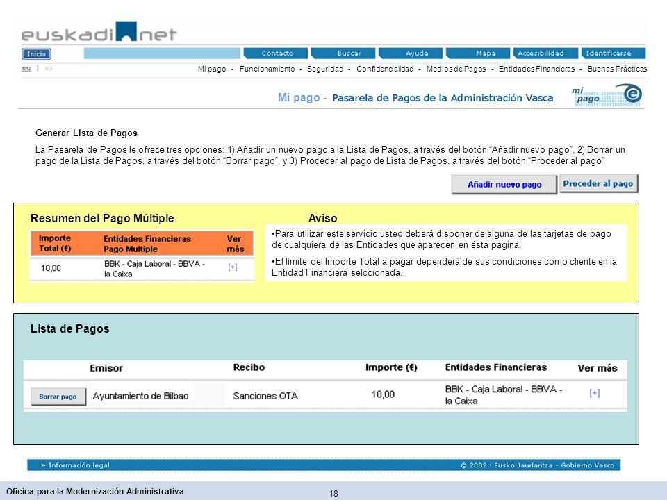 18 Oficina para la Modernización Administrativa Resumen del Pago Múltiple Mi pago - Funcionamiento - Seguridad - Confidencialidad - Medios de Pagos -