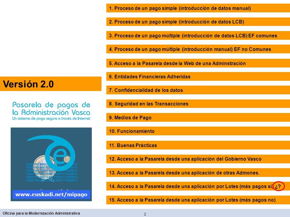 2 Oficina para la Modernización Administrativa www.euskadi.net/mipago 2. Proceso de un pago simple (introducción de datos LCB) 1. Proceso de un pago s