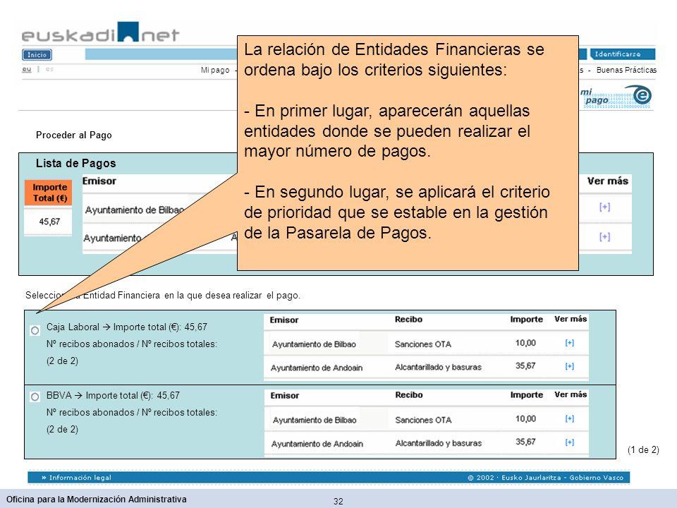 32 Oficina para la Modernización Administrativa Mi pago - Funcionamiento - Seguridad - Confidencialidad - Medios de Pagos - Entidades Financieras - Bu