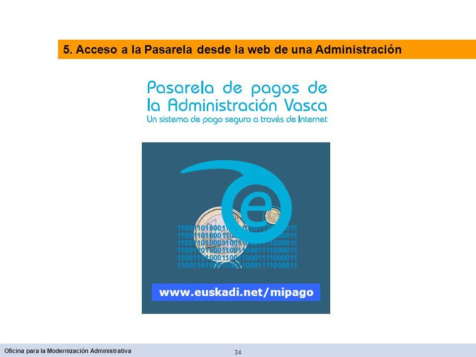 34 Oficina para la Modernización Administrativa www.euskadi.net/mipago 5. Acceso a la Pasarela desde la web de una Administración