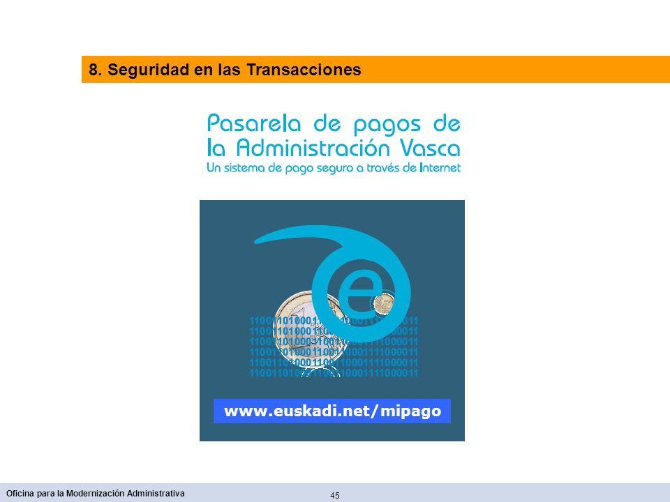 45 Oficina para la Modernización Administrativa www.euskadi.net/mipago 8. Seguridad en las Transacciones