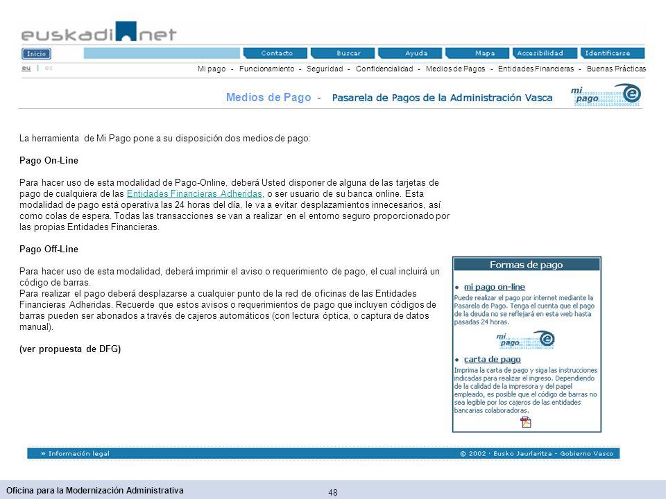 48 Oficina para la Modernización Administrativa Mi pago - Funcionamiento - Seguridad - Confidencialidad - Medios de Pagos - Entidades Financieras - Bu