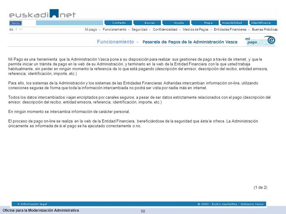 50 Oficina para la Modernización Administrativa Mi pago - Funcionamiento - Seguridad - Confidencialidad - Medios de Pagos - Entidades Financieras - Bu