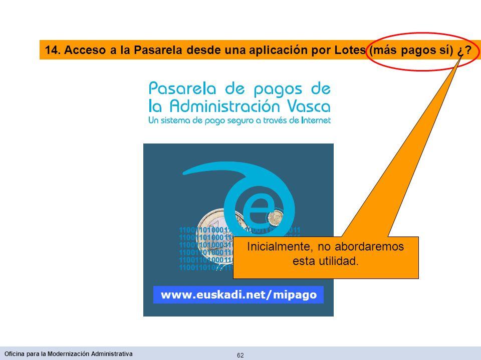 62 Oficina para la Modernización Administrativa www.euskadi.net/mipago 14. Acceso a la Pasarela desde una aplicación por Lotes (más pagos sí) ¿? Inici